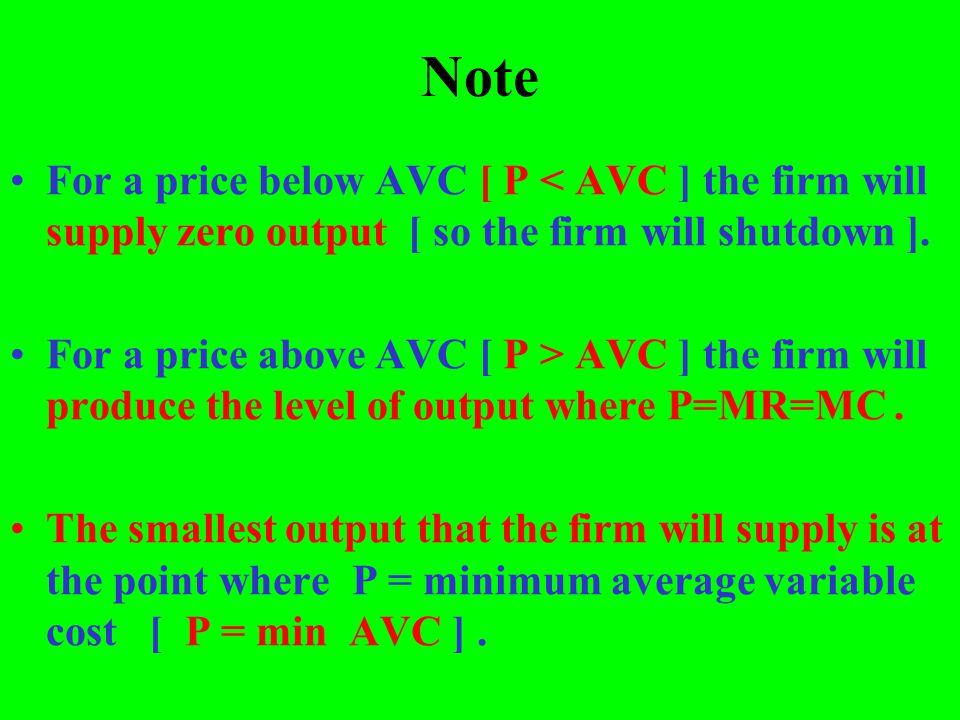 Note For a price below AVC [ P < AVC ] the firm will supply zero output [ so the firm will shutdown ].